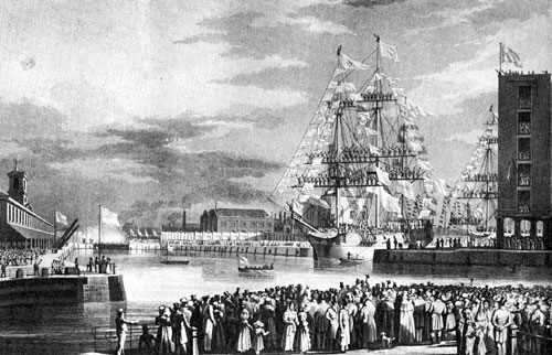 The opening of St Katherine's Docks, 1828