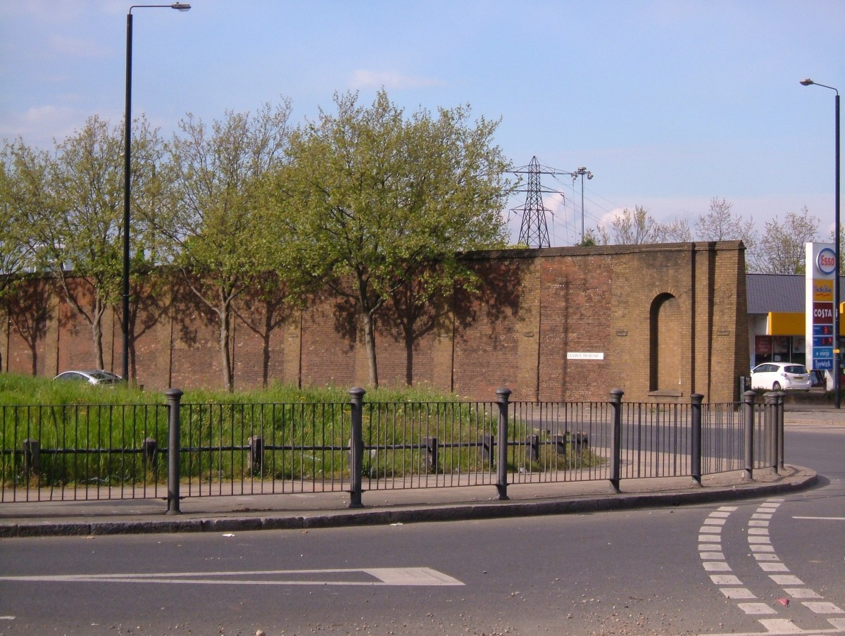 The remains of the dock walls on Leamouth Road