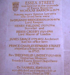 Information on the wall of Essex Street