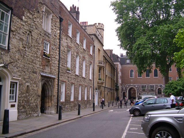 Inside Dean's Yard, looking towards the two gateways into Great College Street
