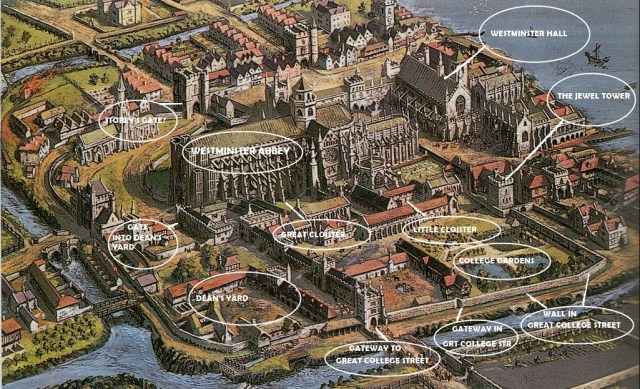 Westminster Abbey and Old Palace of Westminster, 1523