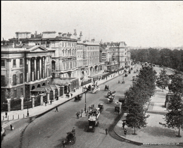 An early photograph of Apsley House with terrace of neighboiuring mansions before construciton of Park Lane