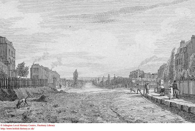 Pentonville Road, an early view looking west, with Penton Street to the right