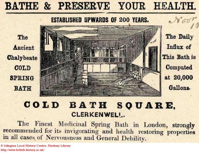 The Cold Bath, advert from 1800s