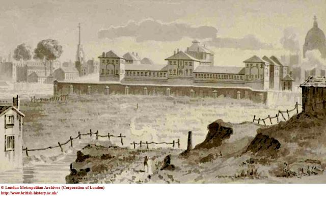 Cold Bath Prison, with Fleet River in foreground, c.1810