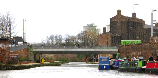 Maiden Lane Bridge with old warehouses on the right