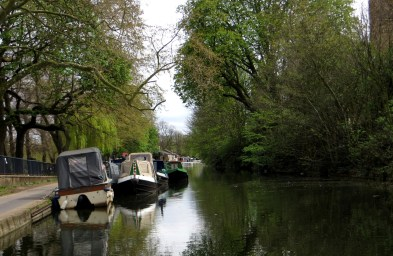 Barges moored alongside Victoria Park
