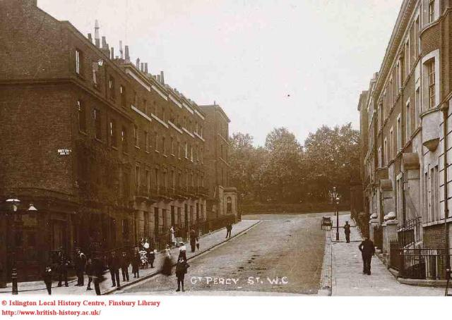 The lower section of Great Percy Street in 1906, looking up towards the Circus; British History Online