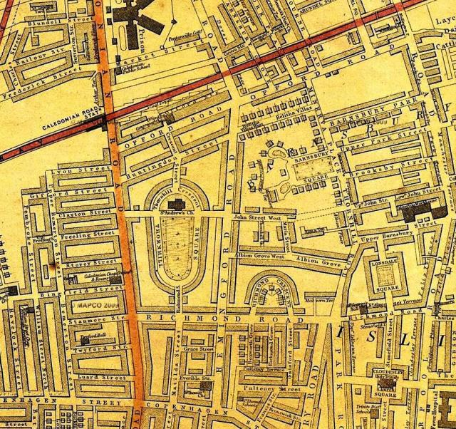 Barnsbury Square, E Weller 1868 map (Mapco)