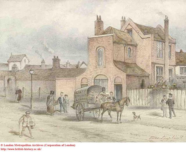 Dame Alice Owen's School (R) & Almshouses (L), 1840