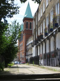 Duncan Terrace, with the Church of St John the Evangelist, and raised pavement