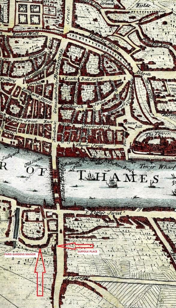 London in 1720, showing Paris Gardens Manor (mapco)