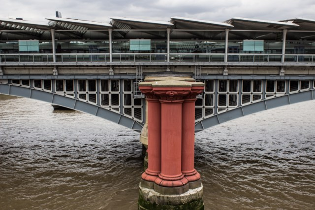 The columns of the 1st railway bridge with the 2nd railway bridge at Blackfriars behind