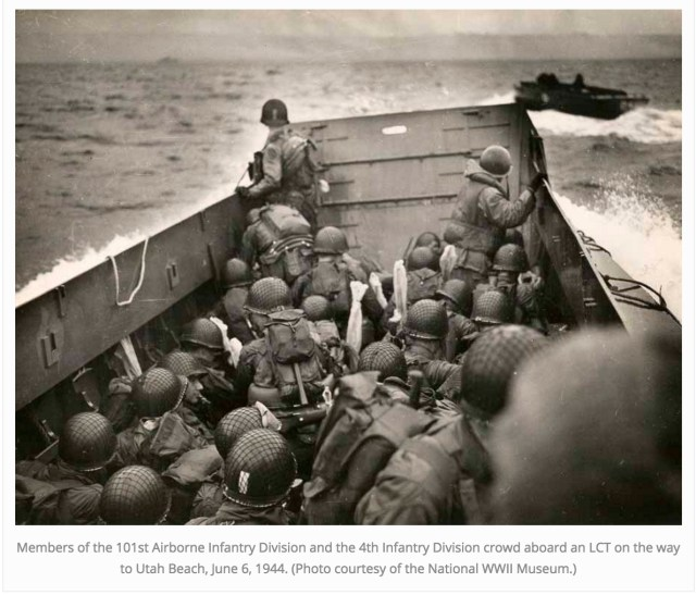 American soldiers landing at Utah Beach (http://www.lakeandsumterstyle.com/normandy-then-now/)