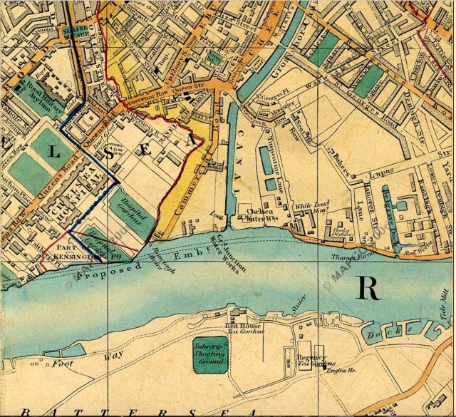 The Red House, Battersea, Cross's map of 1850 (http://mapco.net/london.htm)