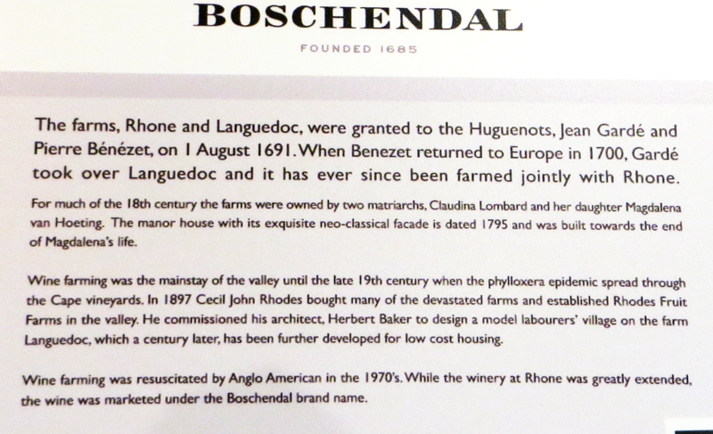 Boschendal - information at the house