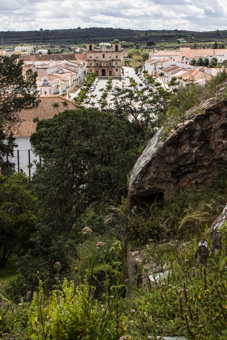 The view from the Castle ramparts up the Republic Square, Vila Vicosa