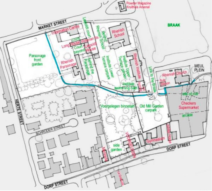 Plan of the Rhenish Mission Buildings (http://www.stellenboschheritage.co.za/wp-content/uploads/PistoriusHarrisStellenboschBinnetuinPark.pdf)
