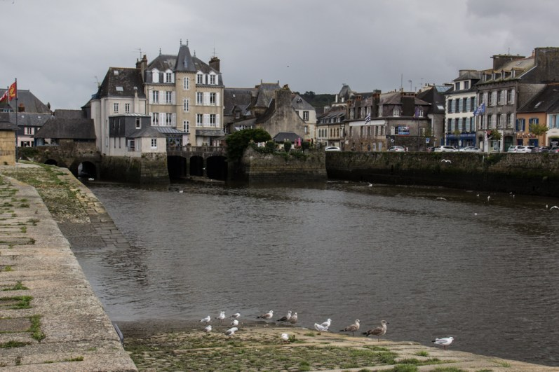 Buildings on the Rohan Bridge over the River Elorn in Landerneau