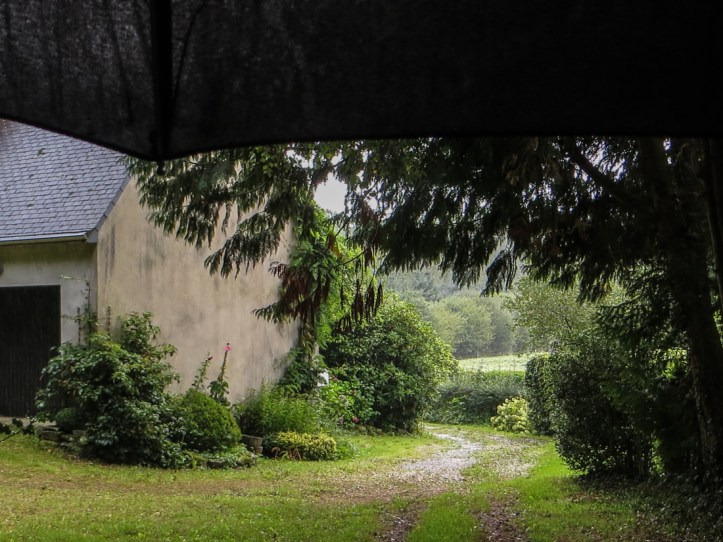 Waiting for the rain to pass underneath an umbrella!