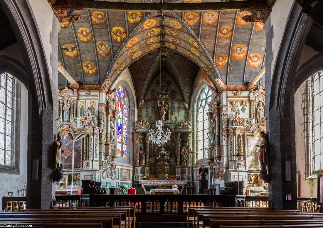 The interior of the Church of St Melar, Locmelar