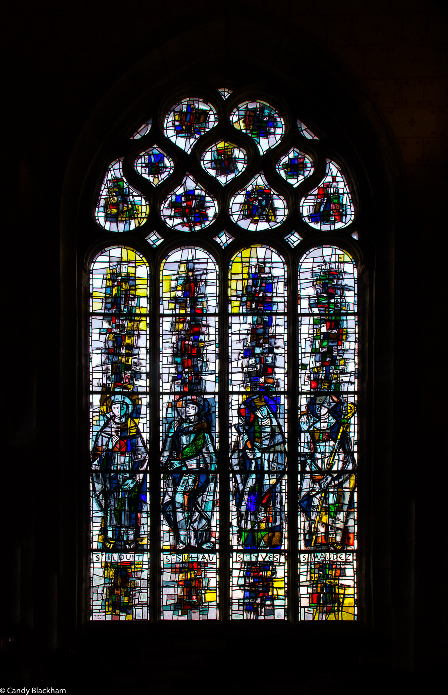 Stained glass by Jacques le Chevalier, 1976