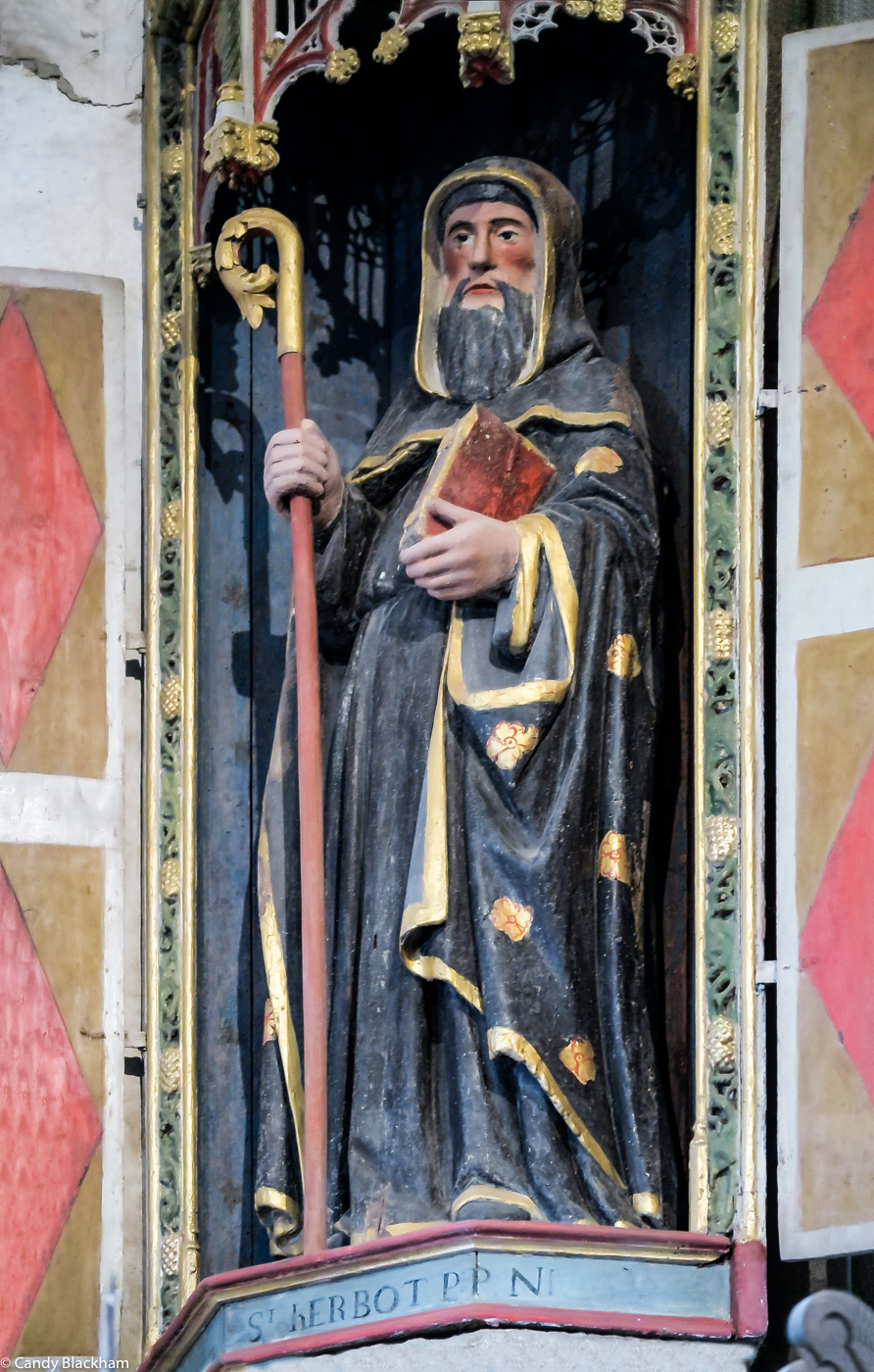 Statue of St Herbot inside the Church