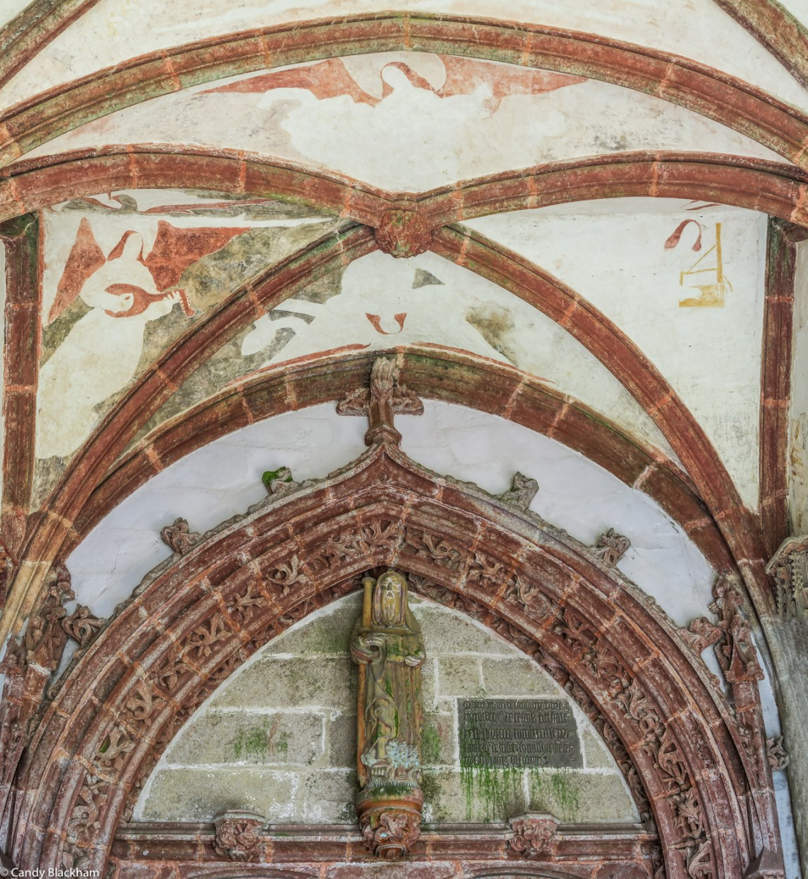 The ceiling in the South Porch, with a figure of St Herbot over the door
