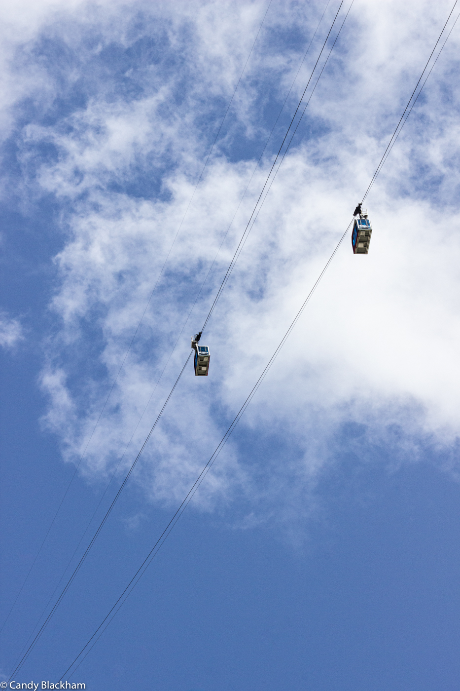 Cable cars crossing at Fuente De