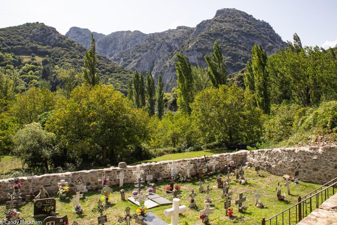 The cemetery just below the church of Santa Maria de Lebena
