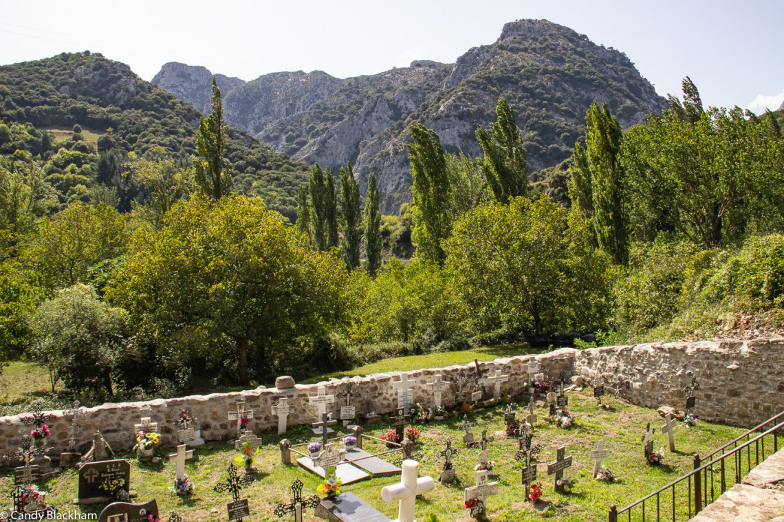 The cemetery just below the church of Santa Maria de Lebena