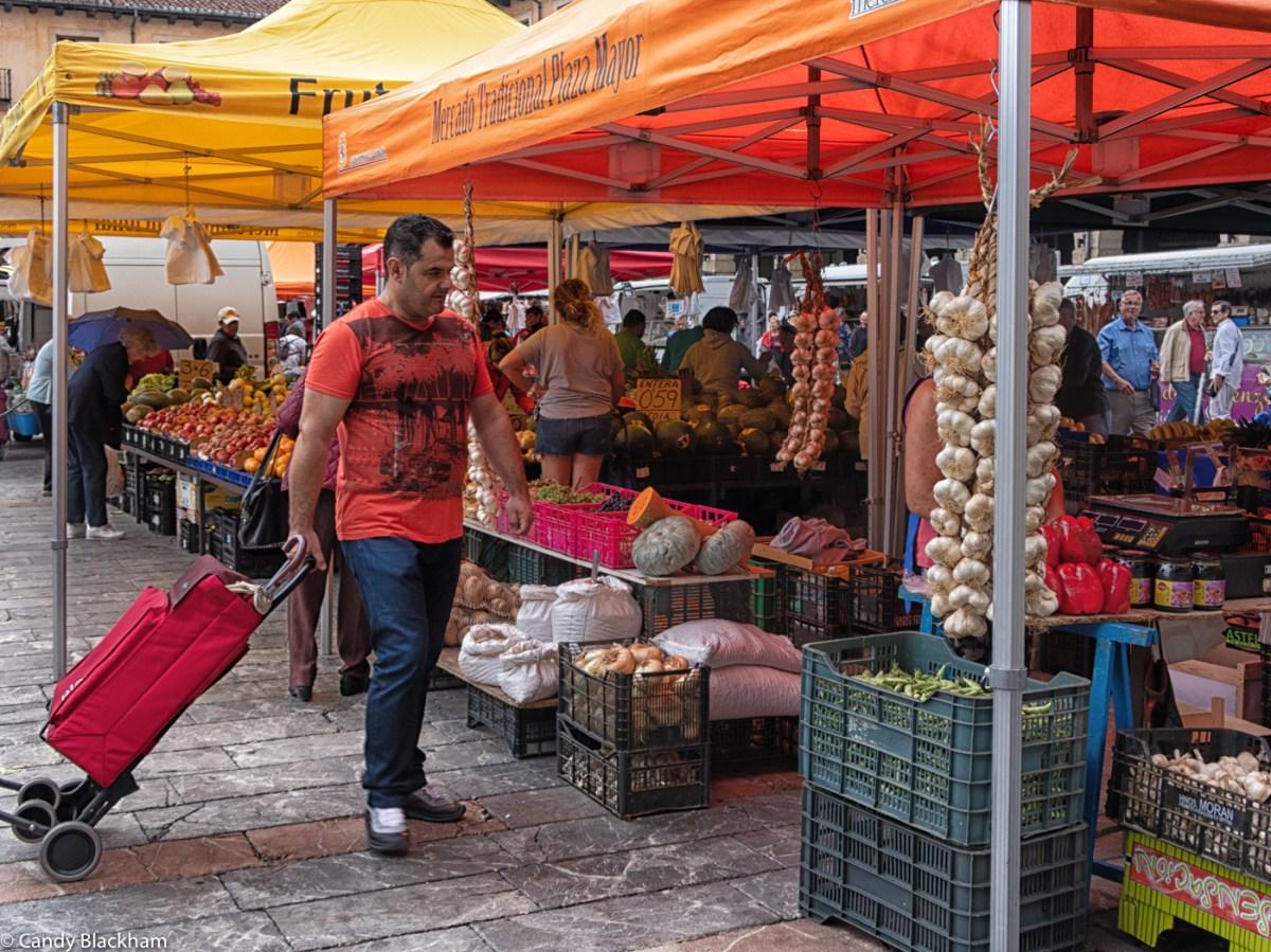 Garlic and pumpkins in the Plaza Mayor, Leon