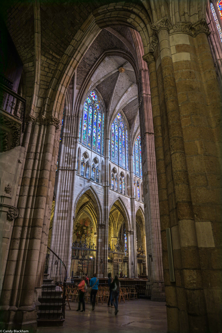 The stained glass windows from the transcept