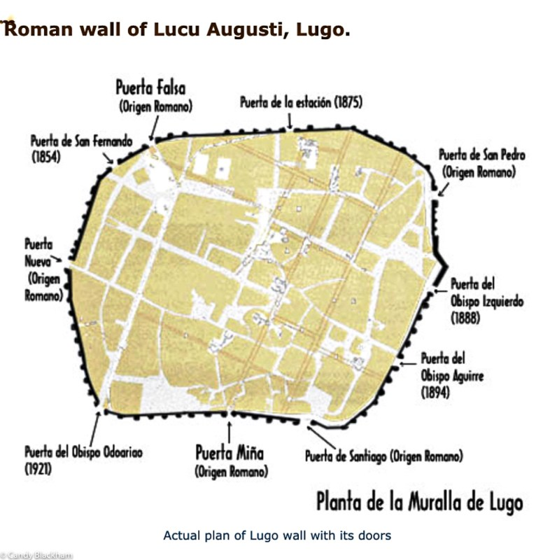 Plan of Roman Walls & Gates in Lugo