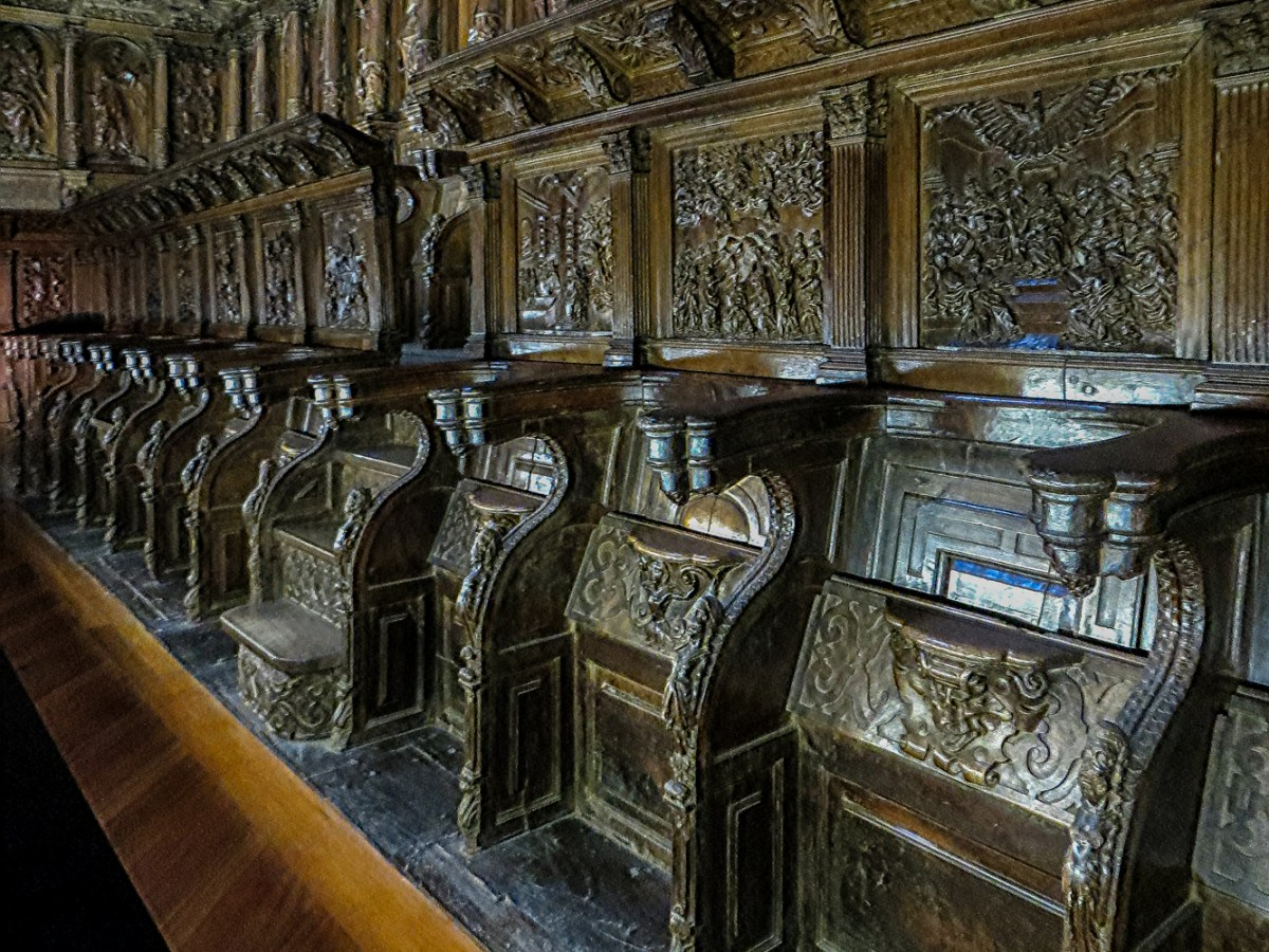 Carved choir stalls in the church