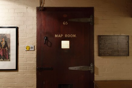 Image shot for Churchill War Rooms Audioguide for use as a wayfinder tool. Photographed March 2015. The Map Room Door at Churchill War Rooms.