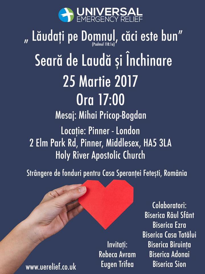 Seara de Lauda si Inchinare – Biserica Raul Sfant / Londra