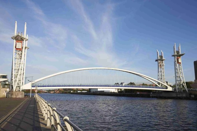 Manchester, UK - 4 May 2017: Salford Quays Lift Bridge In Manchester