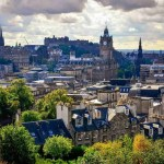 Scenic view of Edinburgh skyline with the castle in background, Scotland