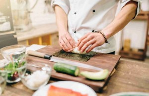 Sushi preparation, traditional japanese food