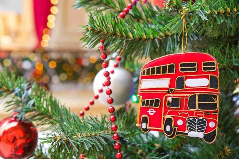 Christmas tree decoration with a red double-decker London bus