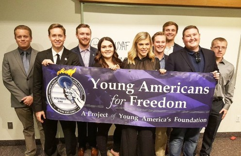 Photo provided by @GCUYAF Twitter - GCU YAF chapter with Allie Stuckey last November