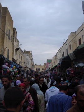 No way did I flatter those boys with a photo. Here's a busy street in Meknes instead.