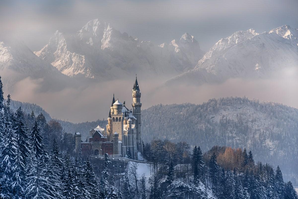 Neuschwanstein Castle Germany Winter Mountains