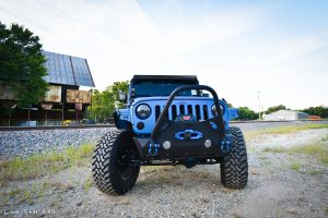 Sprayed Blue Jeep Rubicon Front View