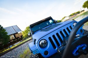 Sprayed Blue Jeep Rubicon Grille Detail View
