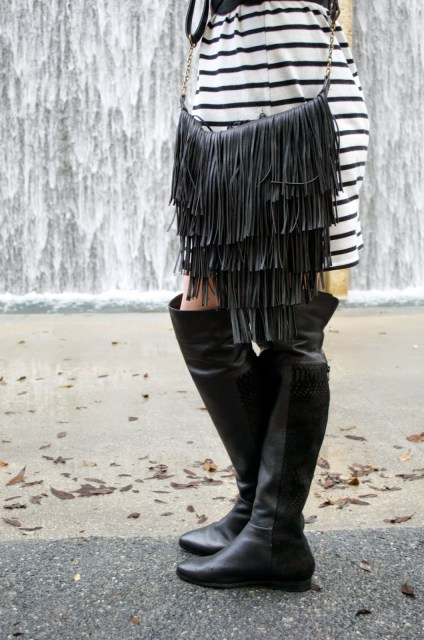 Seychelles Over the Knee Boots, Black Over the Knee Boots, Anthropologie Over the Knee Boots, Victory Black Boots, Anthropologie Boots, Celine Sunglasses, Stripe Dress Black Boots, Cavender's Purse, Black Fringe Purse Cavenders, Black Fringe Purse, Lone Star Looking Glass