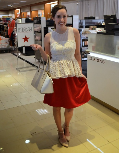 anthropologie white peplum top, anthropologie lace peplum top, white peplum top and midi skirt,