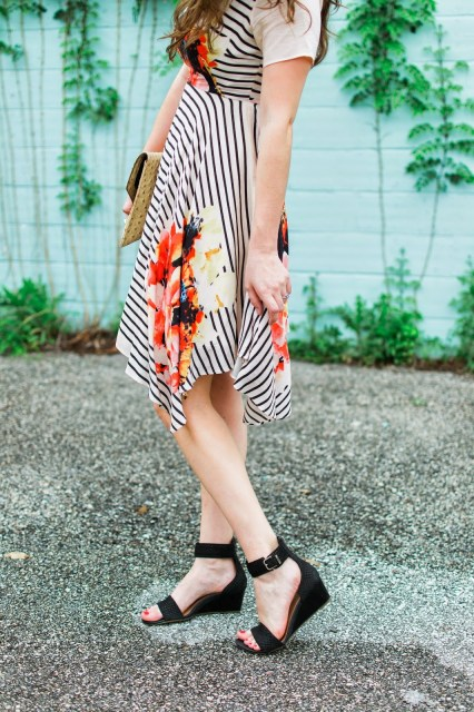Ugg Char Mar Wedges with a Striped and Floral Sundress