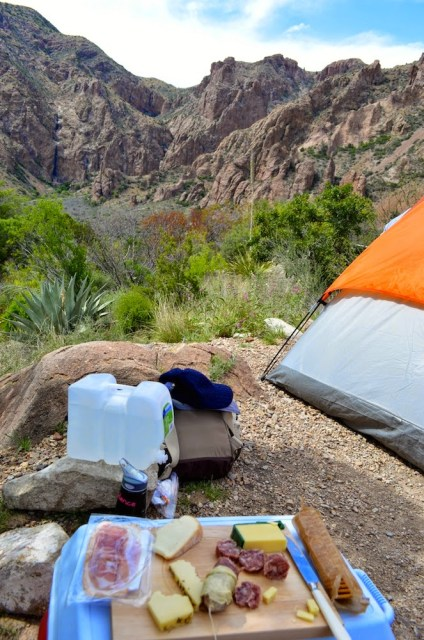 Chisos Basin Campsite, Chisos Basin Big Bend Camping, Camping in the Chisos Basin, Cheese Board and Camping, Camping Appetizers